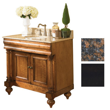 Kaco Guild Hall 36 Black Vanity With Tan Brown Granite Top