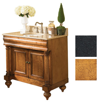 Kaco Guild Hall 36 Pecan Vanity With Black Granite Top