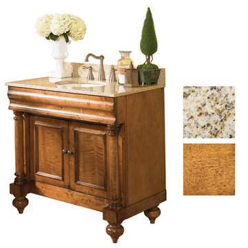 Kaco Guild Hall 36 Pecan Vanity With Gold Hill Granite Top