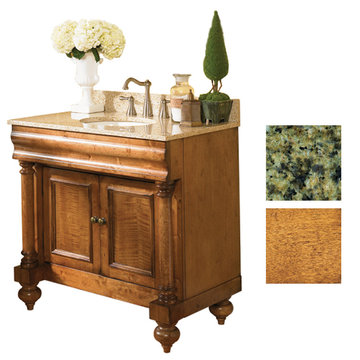 Kaco Guild Hall 36 Pecan Vanity With Green Granite Top