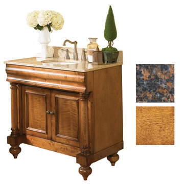 Kaco Guild Hall 36 Pecan Vanity With Tan Brown Granite Top