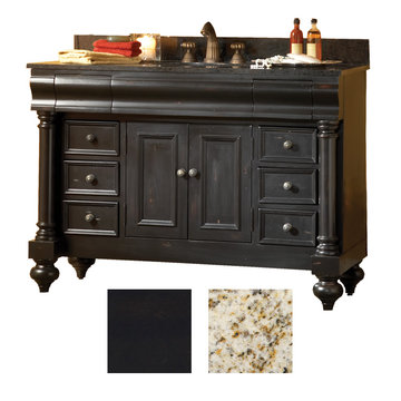 Kaco Guild Hall 48 Black Vanity With Gold Hill Granite Top