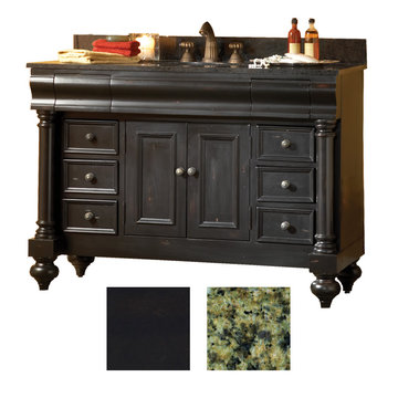 Kaco Guild Hall 48 Black Vanity With Green Granite Top