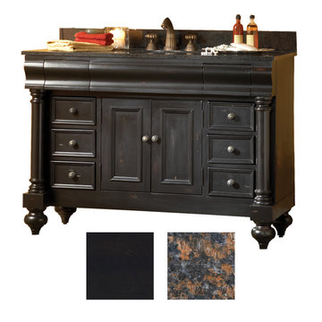 Kaco Guild Hall 48 Black Vanity With Tan Brown Granite Top