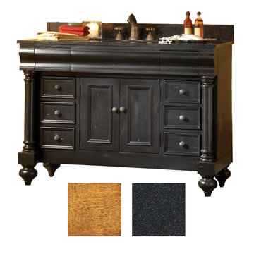 Kaco Guild Hall 48 Pecan Vanity With Black Granite Top