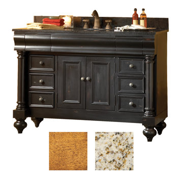 Kaco Guild Hall 48 Pecan Vanity With Gold Hill Granite Top