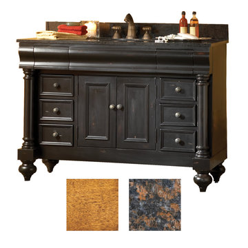 Kaco Guild Hall 48 Pecan Vanity With Tan Brown Granite Top