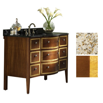 Kaco Guilford Manor 48 Cognac Vanity With Gold Hill Granite Top