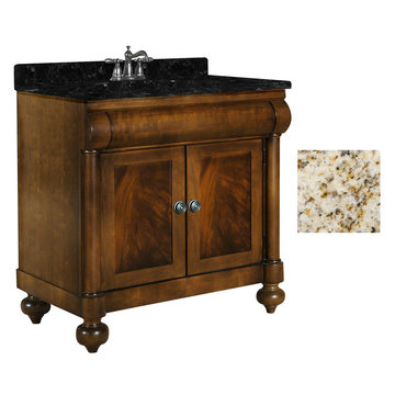 Kaco John Adams 36 Brown Cherry Vanity With Gold Hill Granite Top