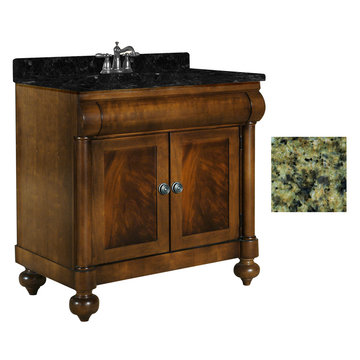Kaco John Adams 36 Brown Cherry Vanity With Green Granite Top