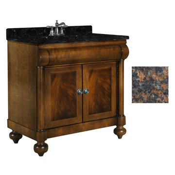 Kaco John Adams 36 Brown Cherry Vanity With Tan Brown Granite Top
