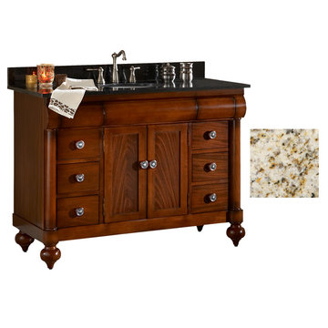 Kaco John Adams 48 Brown Cherry Vanity With Gold Hill Granite Top