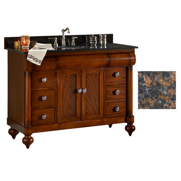 Kaco John Adams 48 Brown Cherry Vanity With Tan Brown Granite Top