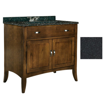 Kaco Metro 36 Brown Cherry Vanity With Black Granite Top