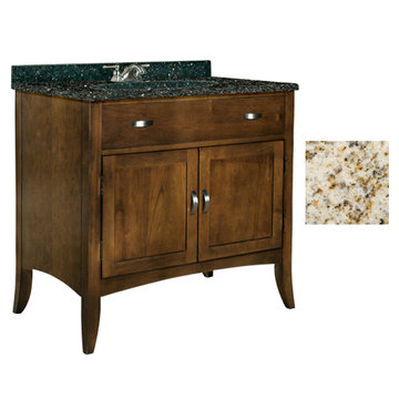 Kaco Metro 36 Brown Cherry Vanity With Gold Hill Granite Top