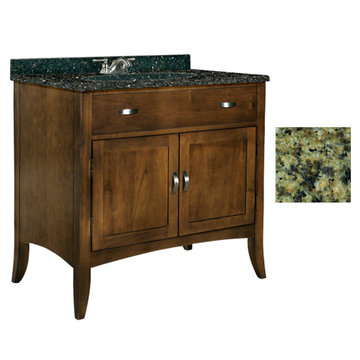 Kaco Metro 36 Brown Cherry Vanity With Green Granite Top