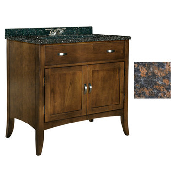 Kaco Metro 36 Brown Cherry Vanity With Tan Brown Granite Top