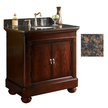 Kaco Mount Vernon 36 Merlot Vanity With Tan Brown Granite Top