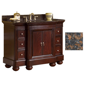 Kaco Mount Vernon 48 Merlot Vanity With Tan Brown Granite Top