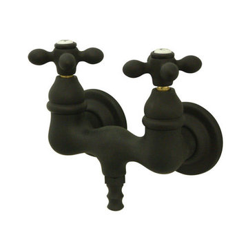 1 3/4 Inch Wall Mount Clawfoot Tub Faucet - Metal Cross