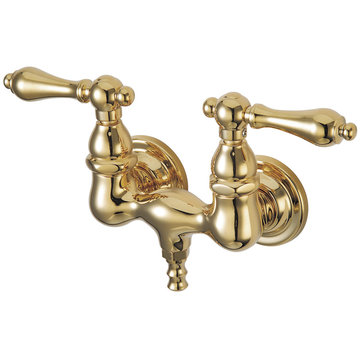 1 3/4 Inch Wall Mount Clawfoot Tub Faucet - Metal Lever