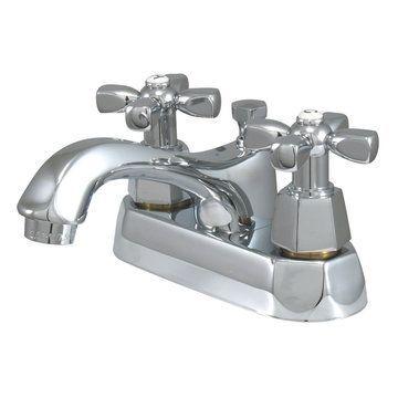 Restorers 4 Inch Centerset Lavatory Faucet - Hex Cross