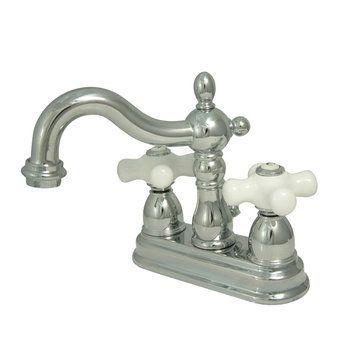 Restorers 4 Inch Centerset Lavatory Faucet - Porcelain Cross