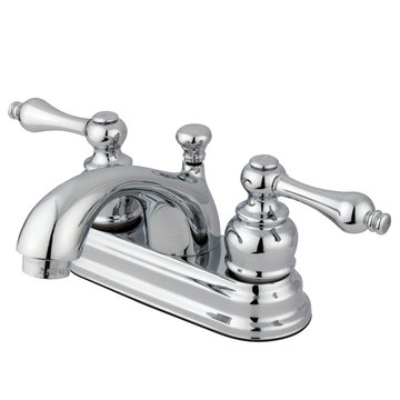 Restorers 4 Inch Classic Centerset Lavatory Faucet - Metal Lever