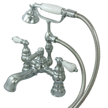 6 Inch Clawfoot Tub Faucet With Hand Shower - H&C Porcelain Lever