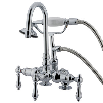 7 1/2 Inch Clawfoot Tub Faucet With Hand Shower - Porcelain Lever