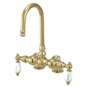 7 1/2 Inch Deck Mount Clawfoot Tub Faucet - H&C Porcelain Lever