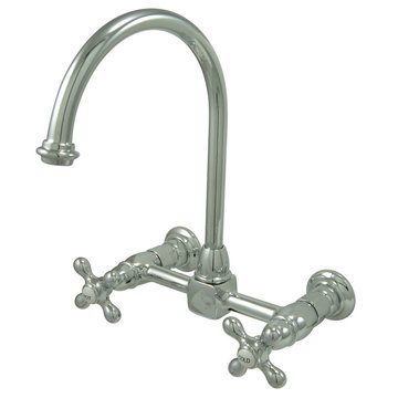 8 1/8 Inch Spread Wall Mount Gooseneck Kitchen Faucet - Metal Cross