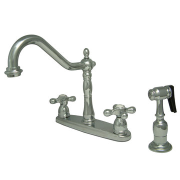 8 Inch Center Kitchen Faucet With Brass Sprayer - Metal Cross