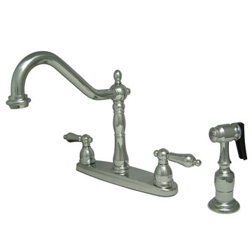 8 Inch Center Kitchen Faucet With Brass Sprayer - Metal Lever