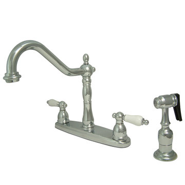 8 Inch Center Kitchen Faucet With Brass Sprayer - Porcelain Lever