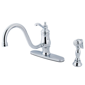 8 Inch Single Handle Kitchen Faucet With Brass Sprayer - Metal Lever