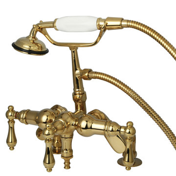 Clawfoot Tub Faucet With Hand Shower And Adjustable Centers - Metal Lever