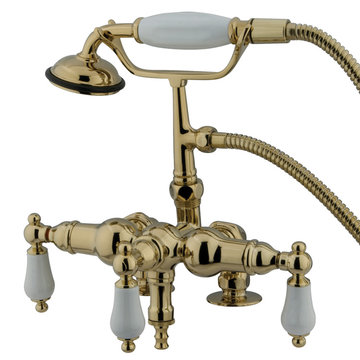 Restorers Adjustable Clawfoot Tub Down Spout Faucet - Porcelain Lever