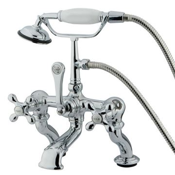 Deck Mount 7 Inch Spread Tub Faucet - Metal Cross