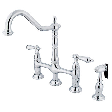 Deck Mount Kitchen Faucet With Brass Sprayer - 8 Inch Spread - Metal Lever
