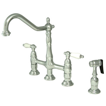Deck Mount Kitchen Faucet With Brass Sprayer - 8 Inch Spread - Porcelain Lever