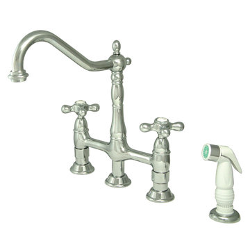 Deck Mount Kitchen Faucet With Sprayer - 8 Inch Spread - Metal Cross