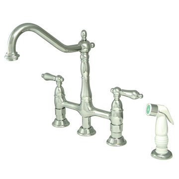 Deck Mount Kitchen Faucet With Sprayer - 8 Inch Spread - Metal Lever