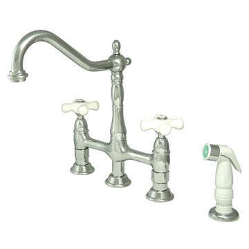 Deck Mount Kitchen Faucet With Sprayer - 8 Inch Spread - Porcelain Cross