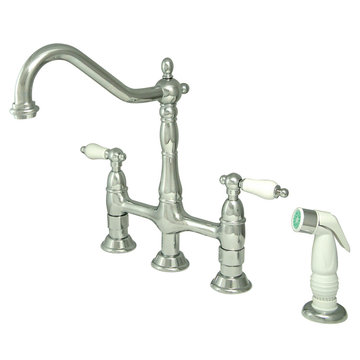 Deck Mount Kitchen Faucet With Sprayer - 8 Inch Spread - Porcelain Lever