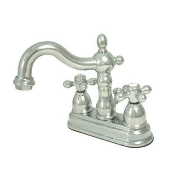 Heritage 4 Inch Centerset Lavatory Faucet With Brass Pop-Up - Metal Cross
