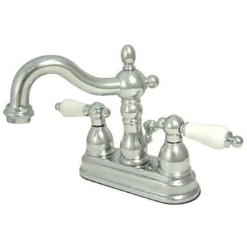 Heritage 4 Inch Centerset Lavatory Faucet With Brass Pop-Up - Porcelain Lever
