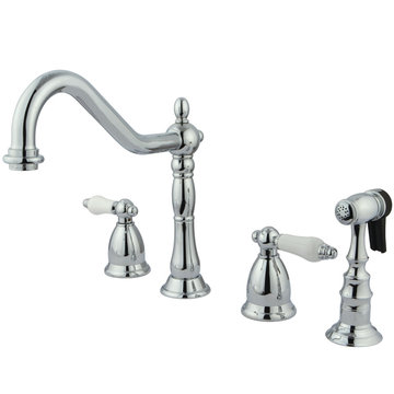 Heritage 8 - 14 Inch Adjustable Spread Kitchen Faucet - Porcelain Lever