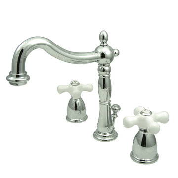 Heritage Widespread Lavatory Faucet - Porcelain Cross