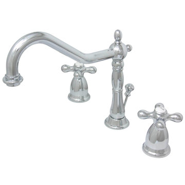 Heritage Widespread Lavatory Faucet With Matching Finish Drain - Metal Cross